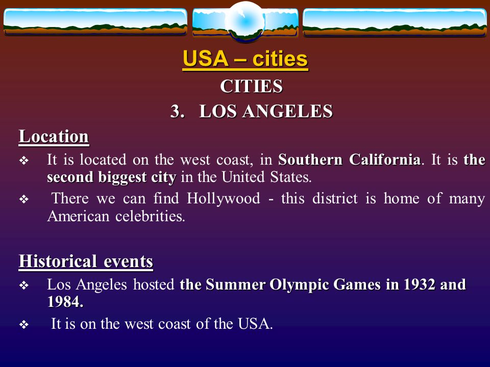 USA – cities CITIES 2.