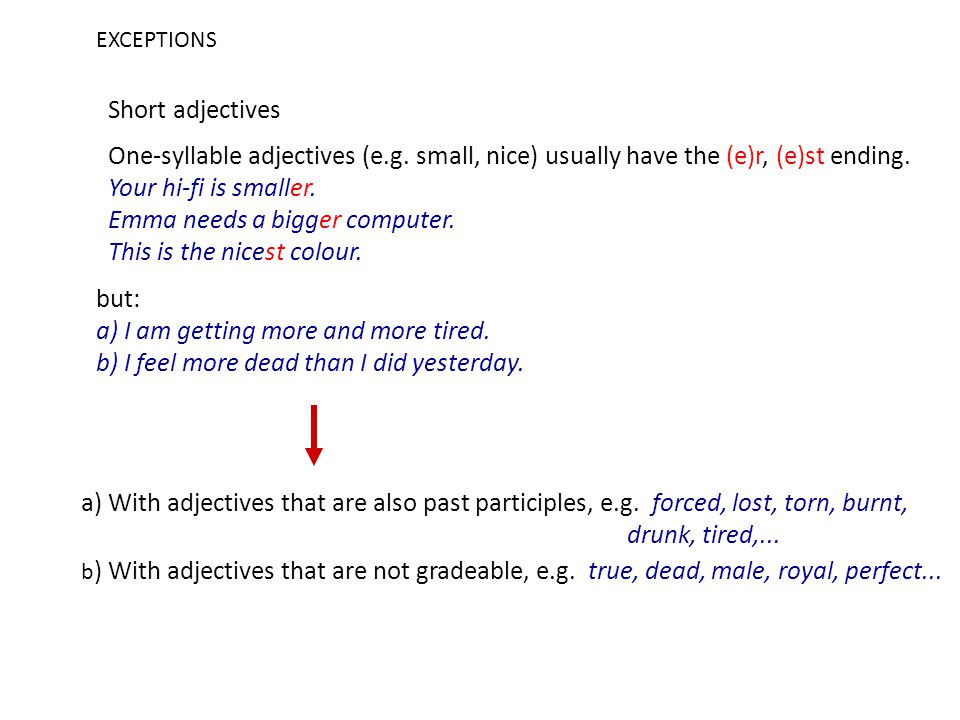 EXCEPTIONS Short adjectives One-syllable adjectives (e.g.