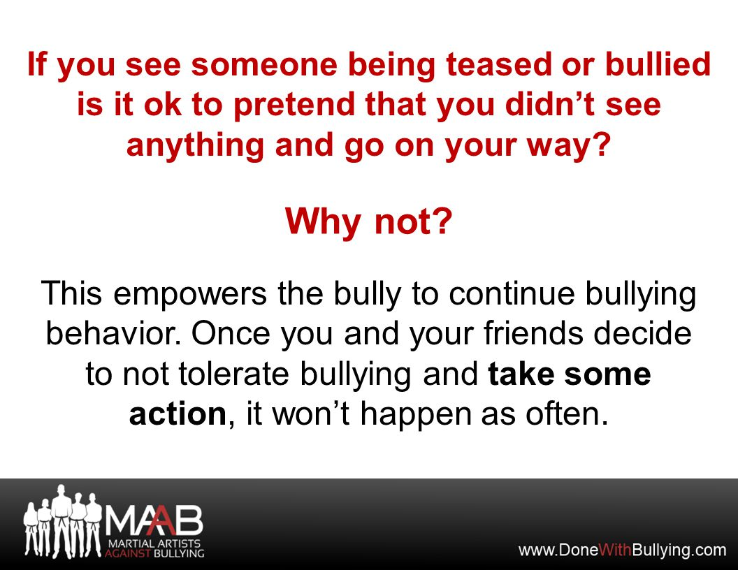 What you can do when you see others being bullied.