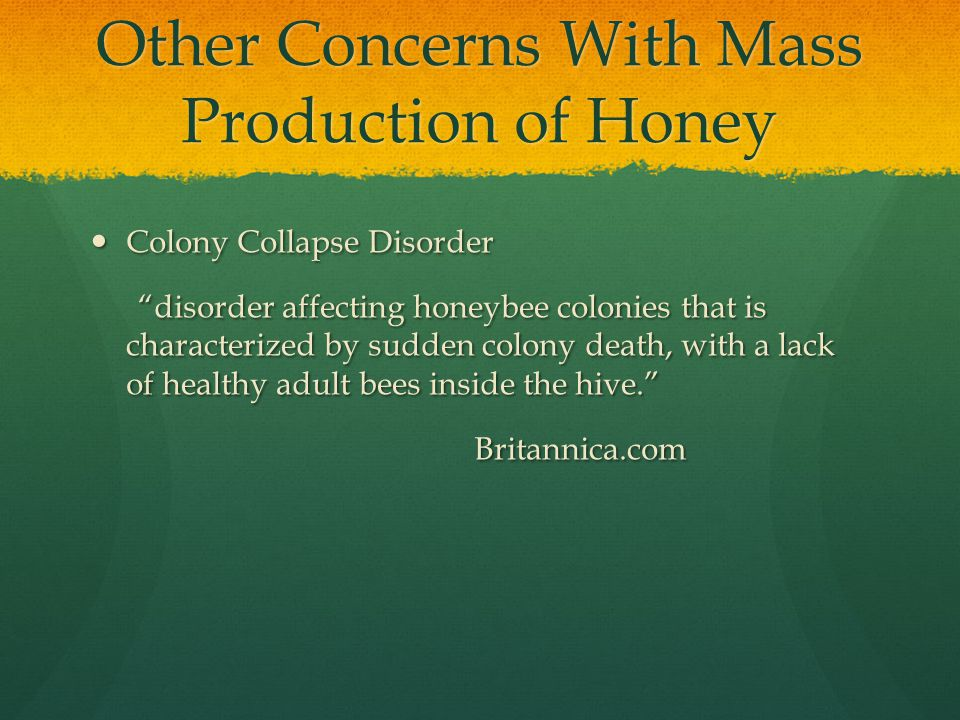 Other Concerns With Mass Production of Honey Colony Collapse Disorder Colony Collapse Disorder disorder affecting honeybee colonies that is characterized by sudden colony death, with a lack of healthy adult bees inside the hive. disorder affecting honeybee colonies that is characterized by sudden colony death, with a lack of healthy adult bees inside the hive. Britannica.com