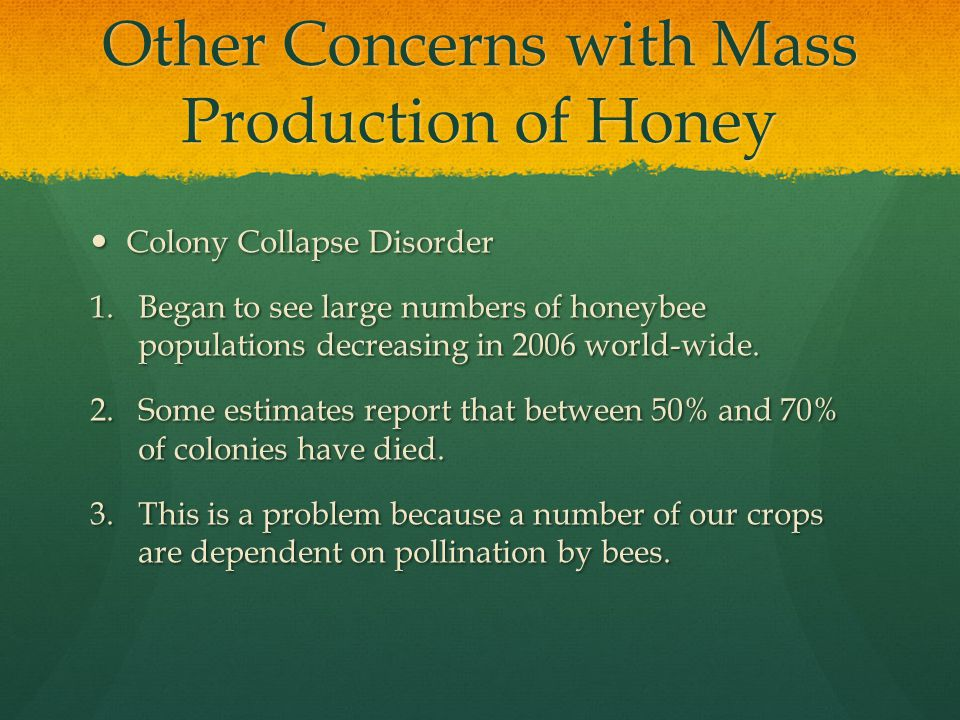 Other Concerns with Mass Production of Honey Colony Collapse Disorder Colony Collapse Disorder 1.Began to see large numbers of honeybee populations decreasing in 2006 world-wide.