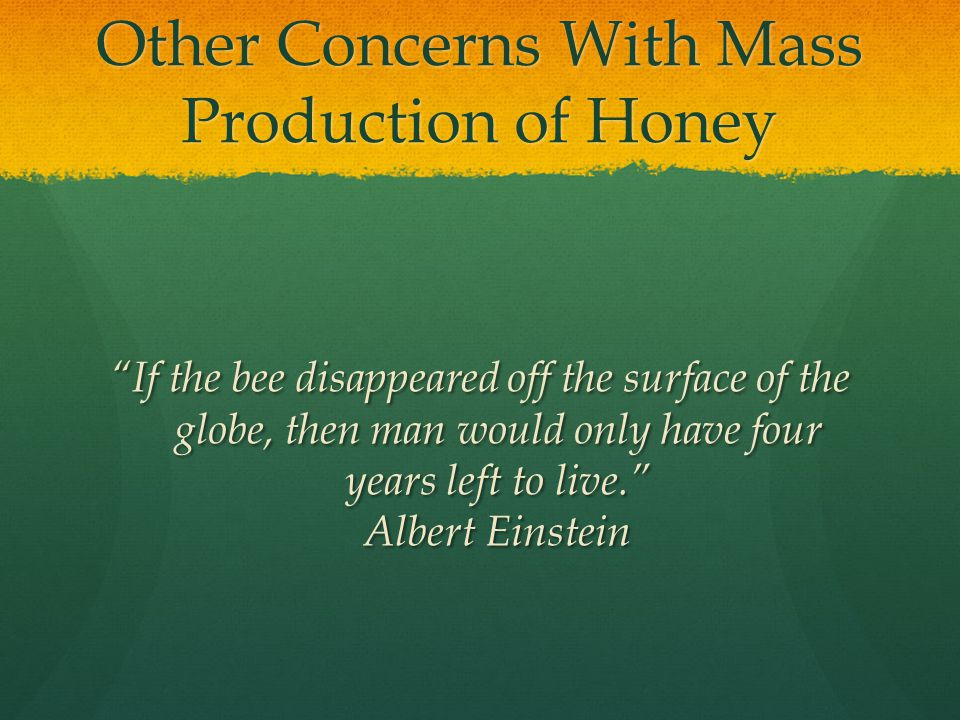 Other Concerns With Mass Production of Honey If the bee disappeared off the surface of the globe, then man would only have four years left to live. Albert Einstein