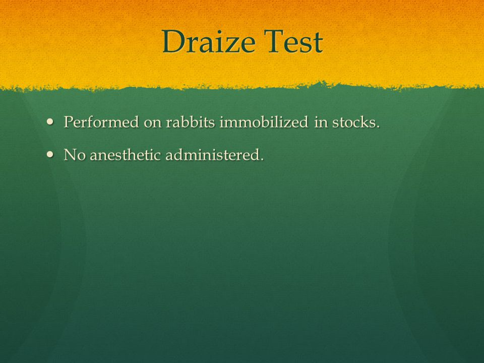 Draize Test Performed on rabbits immobilized in stocks.