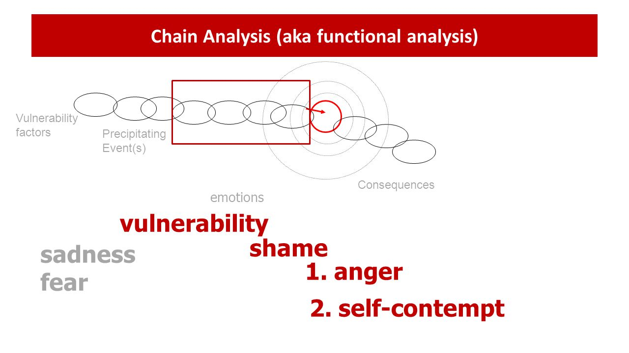 Chain Analysis (aka functional analysis) Vulnerability factors Precipitating Event(s) Consequences shame 1. anger emotions vulnerability sadness fear