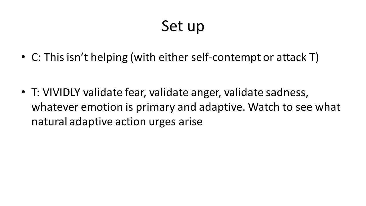 Set up C: This isn't helping (with either self-contempt or attack T) T: VIVIDLY validate fear, validate anger, validate sadness, whatever emotion is primary and adaptive.