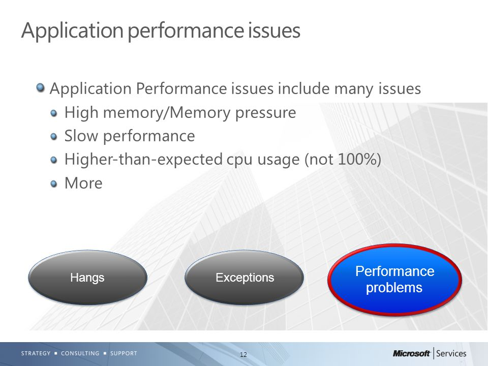 12 Application Performance issues include many issues High memory/Memory pressure Slow performance Higher-than-expected cpu usage (not 100%) More Application performance issues HangsExceptions Performance problems