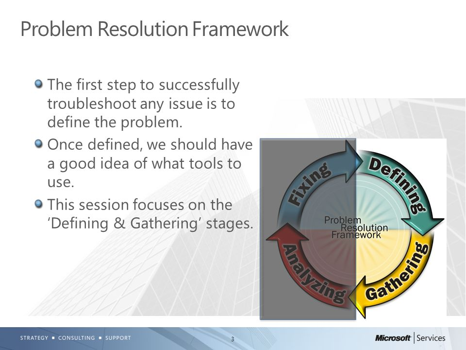3 The first step to successfully troubleshoot any issue is to define the problem. Once defined, we should have a good idea of what tools to use. This