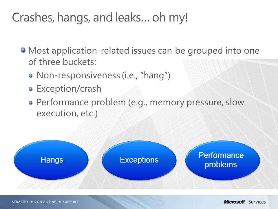 4 Most application-related issues can be grouped into one of three buckets: Non-responsiveness (i.e., hang ) Exception/crash Performance problem (e.g., memory pressure, slow execution, etc.) Crashes, hangs, and leaks… oh my.