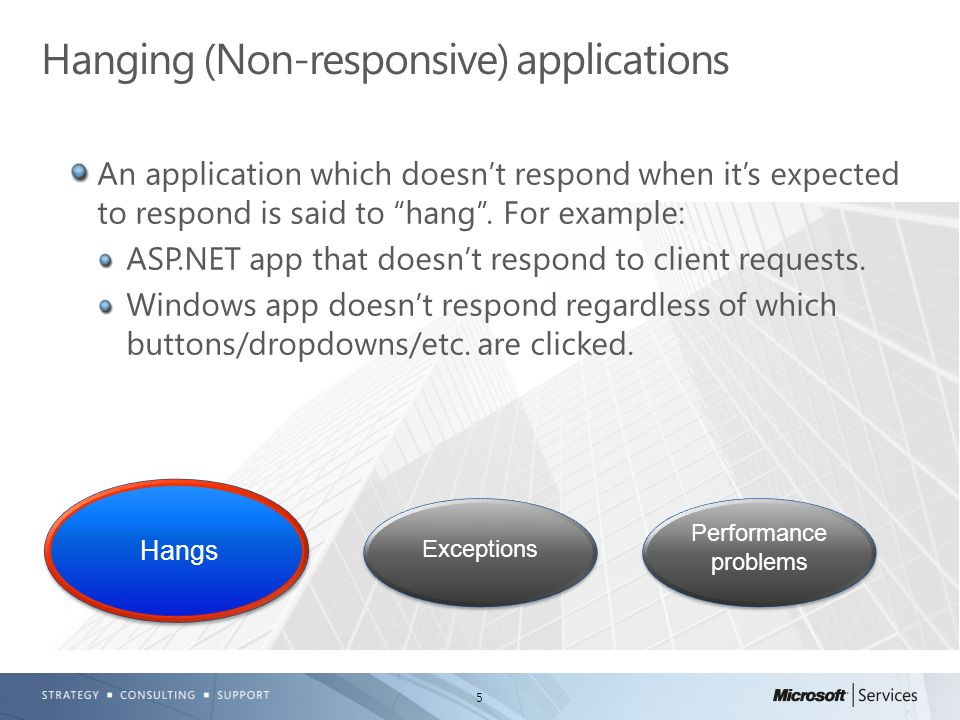 """5 An application which doesn't respond when it's expected to respond is said to """"hang"""". For example: ASP.NET app that doesn't respond to client reques"""