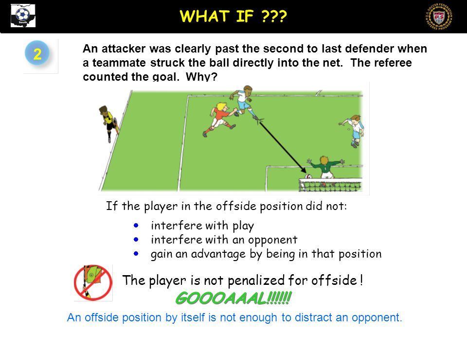 2 An attacker was clearly past the second to last defender when a teammate struck the ball directly into the net.