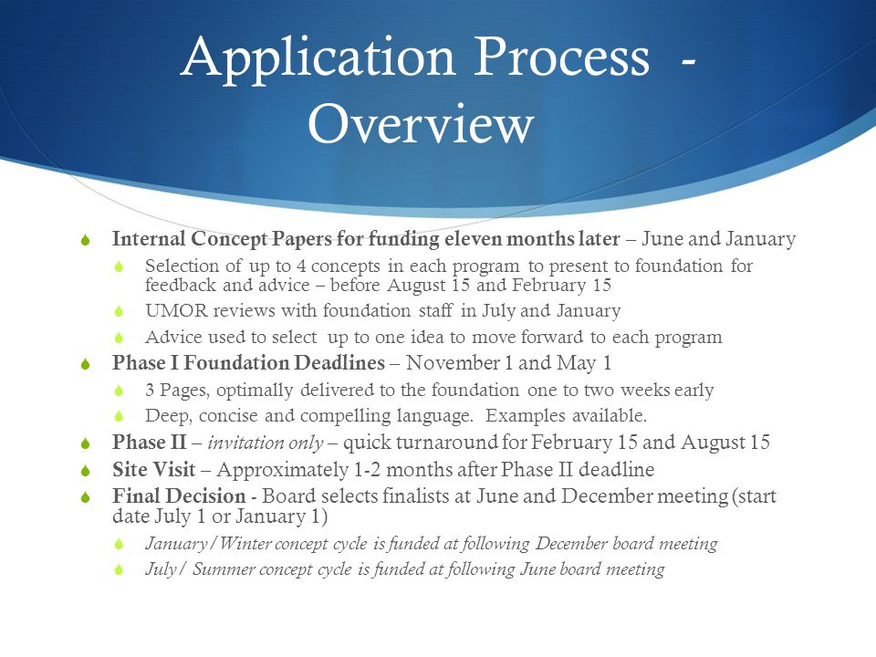 Application Process - Overview  Internal Concept Papers for funding eleven months later – June and January  Selection of up to 4 concepts in each pr