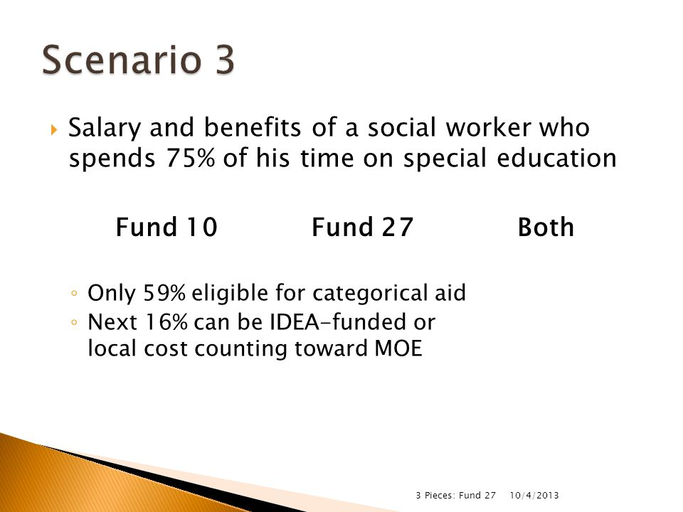  Salary and benefits of a social worker who spends 75% of his time on special education ◦ Only 59% eligible for categorical aid ◦ Next 16% can be IDE