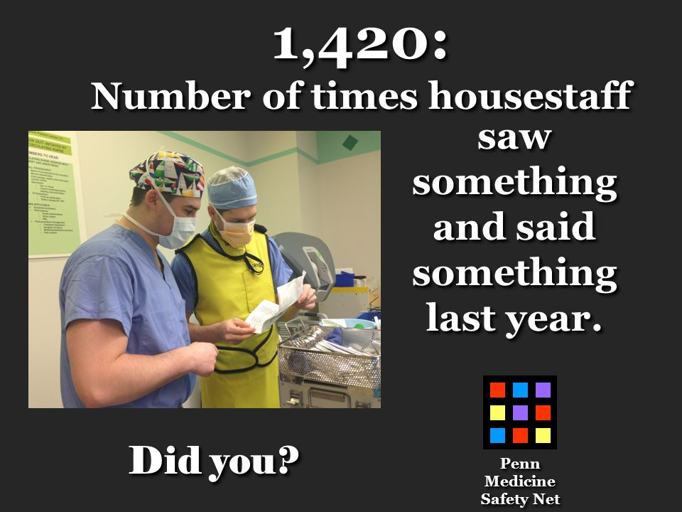1,420: Number of times housestaff 1,420: sawsomething and said something last year.