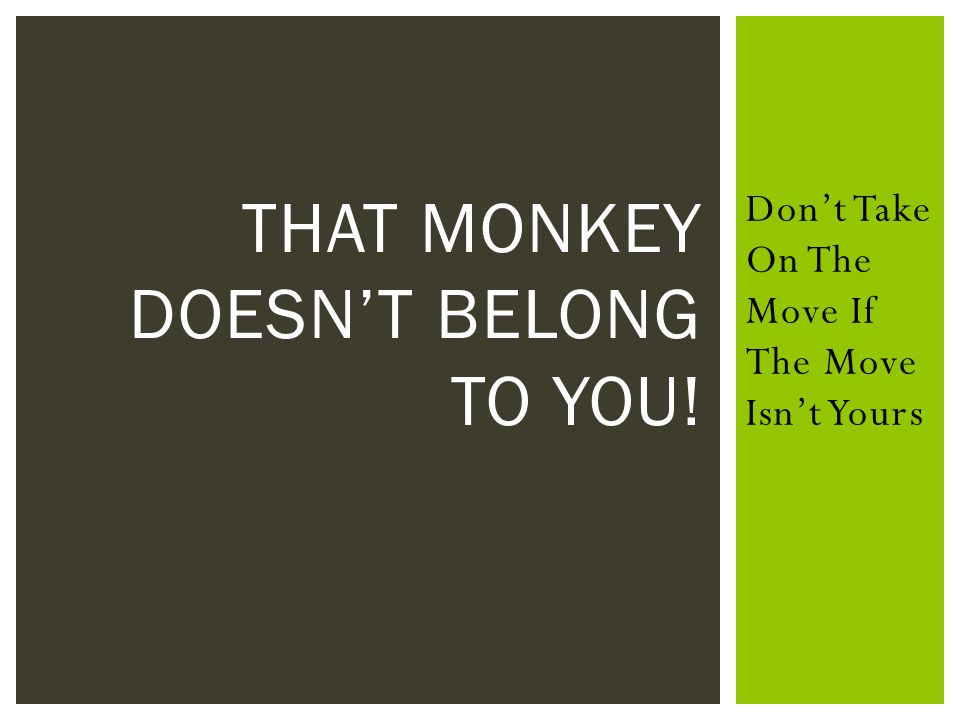 When You Pick Up A Monkey That Someone Else Could Handle, You Give The Message That Other's Are Not Capable