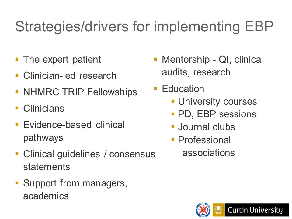 Strategies/drivers for implementing EBP  The expert patient  Clinician-led research  NHMRC TRIP Fellowships  Clinicians  Evidence-based clinical pathways  Clinical guidelines / consensus statements  Support from managers, academics  Mentorship - QI, clinical audits, research  Education  University courses  PD, EBP sessions  Journal clubs  Professional associations