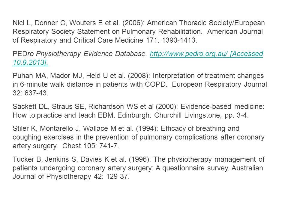 Nici L, Donner C, Wouters E et al.