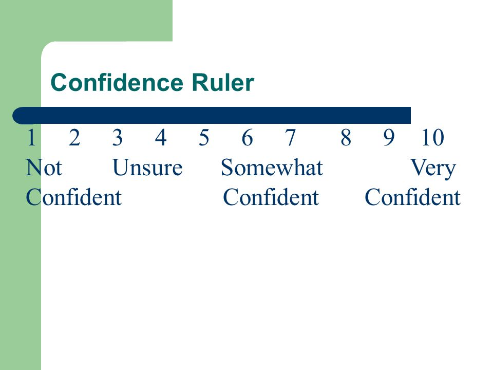 Confidence Ruler 1 2 3 4 5 6 7 8 9 10 Not Unsure Somewhat Very ConfidentConfident Confident