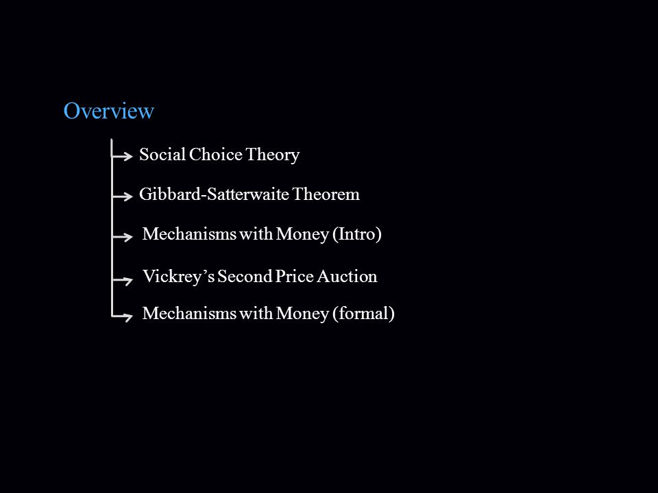 Overview Social Choice Theory Gibbard-Satterwaite Theorem Mechanisms with Money (Intro) Vickrey's Second Price AuctionMechanisms with Money (formal)