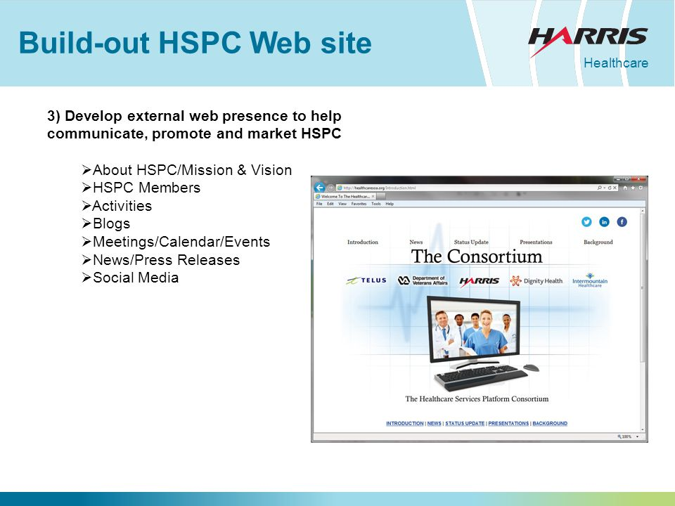 Healthcare Build-out HSPC Web site 3) Develop external web presence to help communicate, promote and market HSPC  About HSPC/Mission & Vision  HSPC Members  Activities  Blogs  Meetings/Calendar/Events  News/Press Releases  Social Media