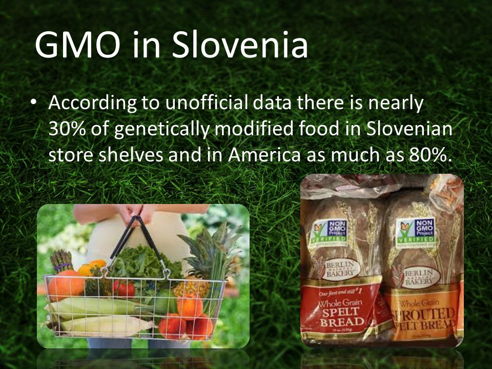According to unofficial data there is nearly 30% of genetically modified food in Slovenian store shelves and in America as much as 80%.
