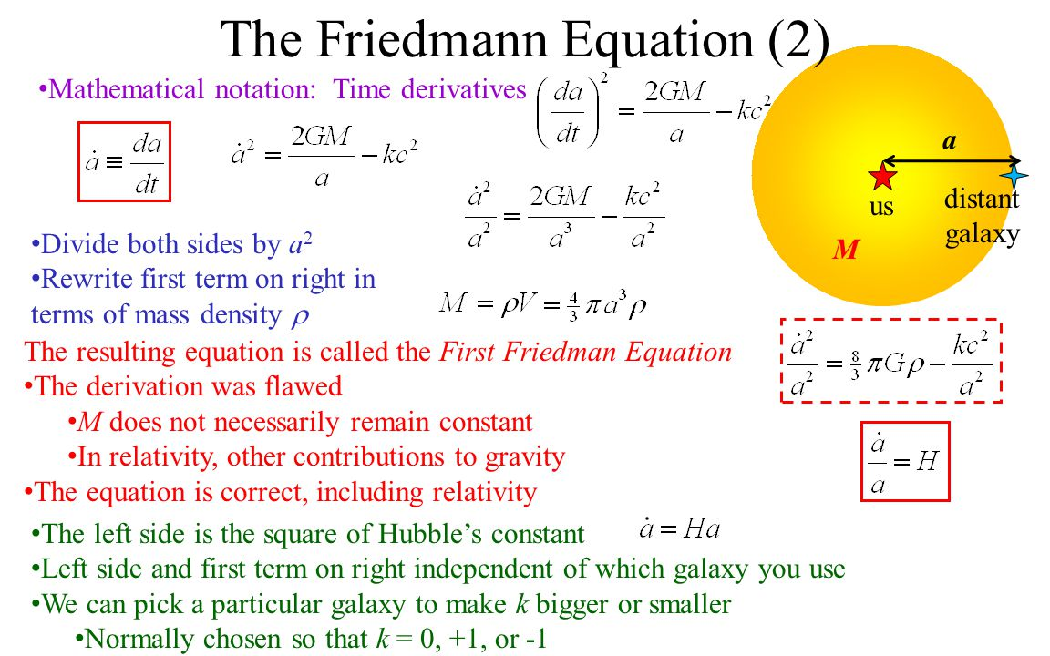 The Friedmann Equation (2) us distant galaxy a Mathematical notation: Time derivatives M Divide both sides by a 2 Rewrite first term on right in terms