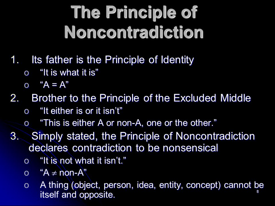 8 The Principle of Noncontradiction 1.