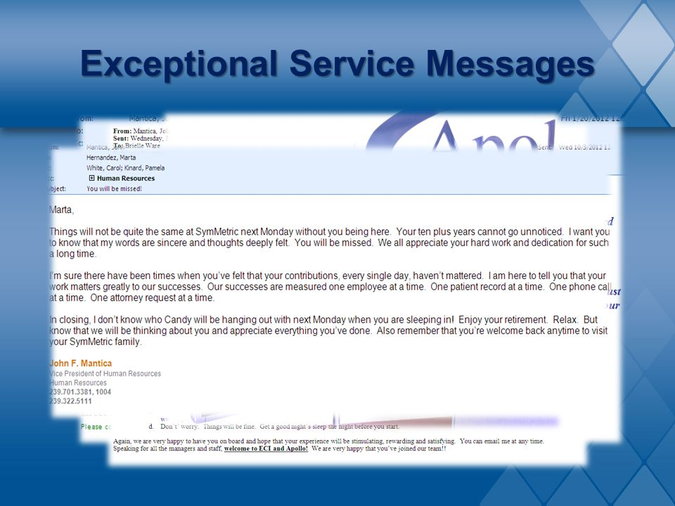 Exceptional Service Messages