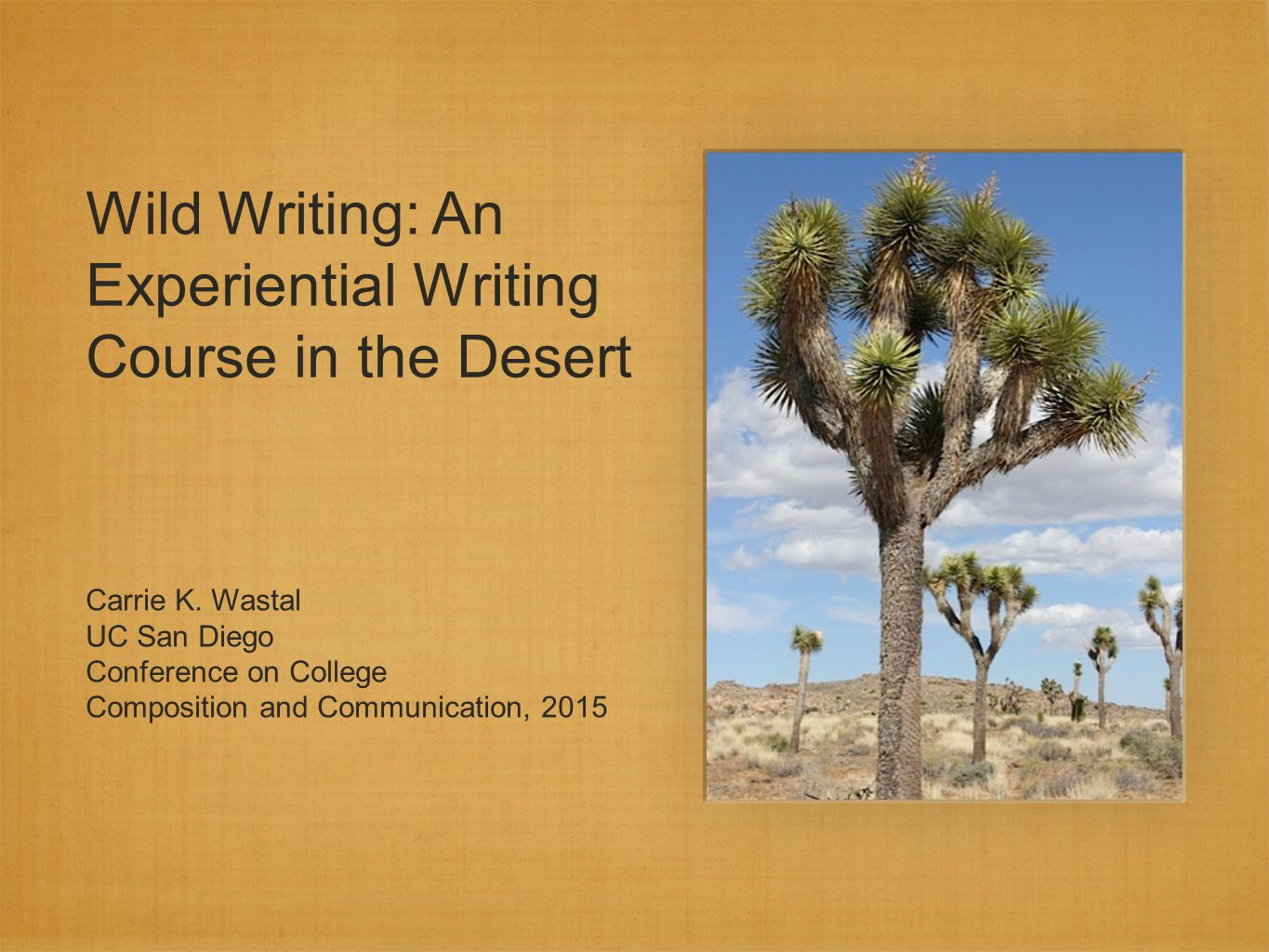 Wild Writing: An Experiential Writing Course in the Desert Carrie K.