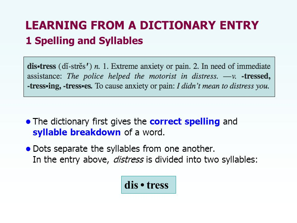 The dictionary first gives the correct spelling and syllable breakdown of a word.