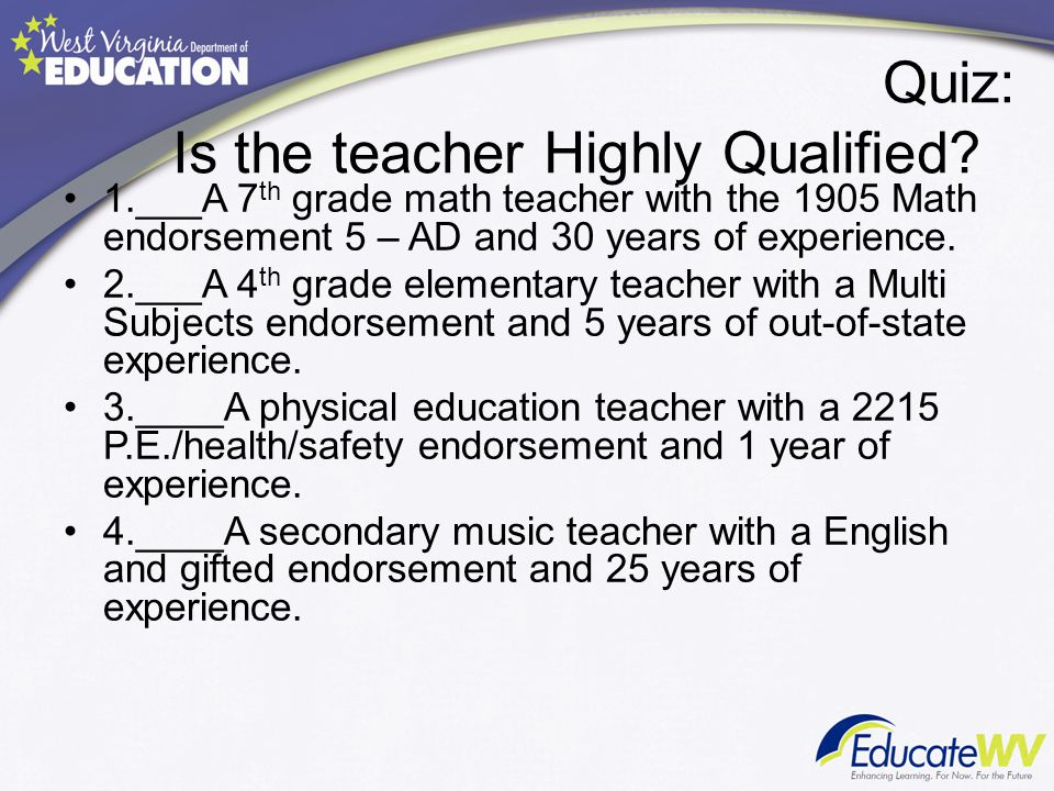 Quiz: Is the teacher Highly Qualified.