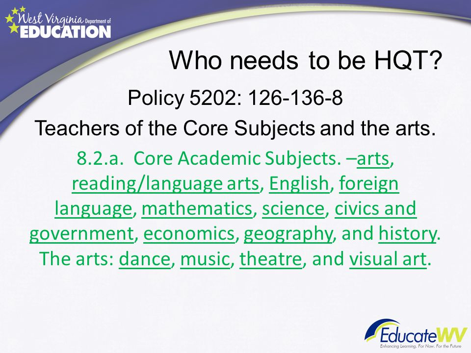 Qualifications to be a HQ Teacher 8.2.b.1.Highly Qualified Teacher-State Definition.