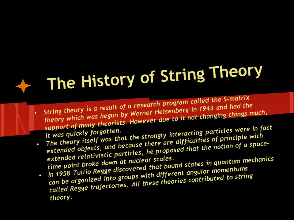 Kaluza-Klein Theory The theory of extra dimensions Kaluza and Klein made a crucial discovery for inventing string theory between 1921 and 1927: electromagnetism can be derived from gravity if there are four space dimensions
