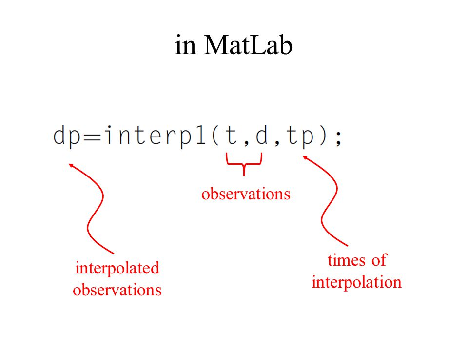 in MatLab observations times of interpolation interpolated observations