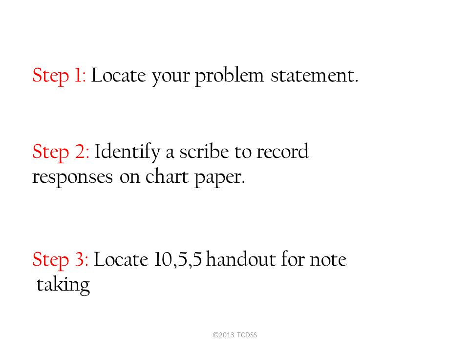 Step 1: Locate your problem statement.