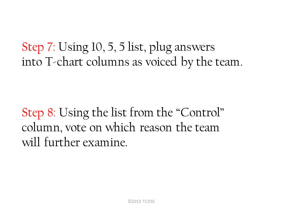 "Step 7: Using 10, 5, 5 list, plug answers into T-chart columns as voiced by the team. Step 8: Using the list from the ""Control"" column, vote on which"