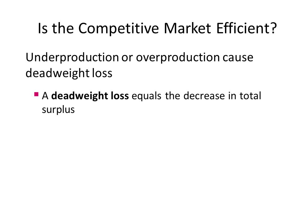 Underproduction or overproduction cause deadweight loss  A deadweight loss equals the decrease in total surplus Is the Competitive Market Efficient?