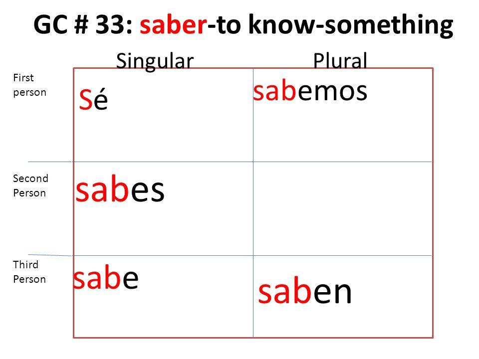 GC # 33: saber-to know-something SéSé sabes sabe sabemos saben First person Second Person Third Person SingularPlural