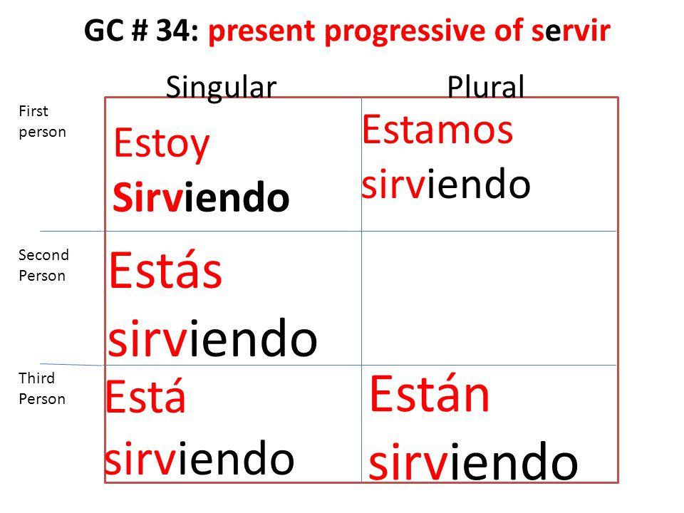 GC # 34: present progressive of servir Estoy Sirviendo Estás sirviendo Está sirviendo Estamos sirviendo Están sirviendo First person Second Person Third Person SingularPlural