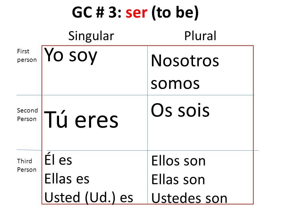 GC # 3: ser (to be) Yo soy Tú eres Él es Ellas es Usted (Ud.) es Nosotros somos Os sois Ellos son Ellas son Ustedes son First person Second Person Thi
