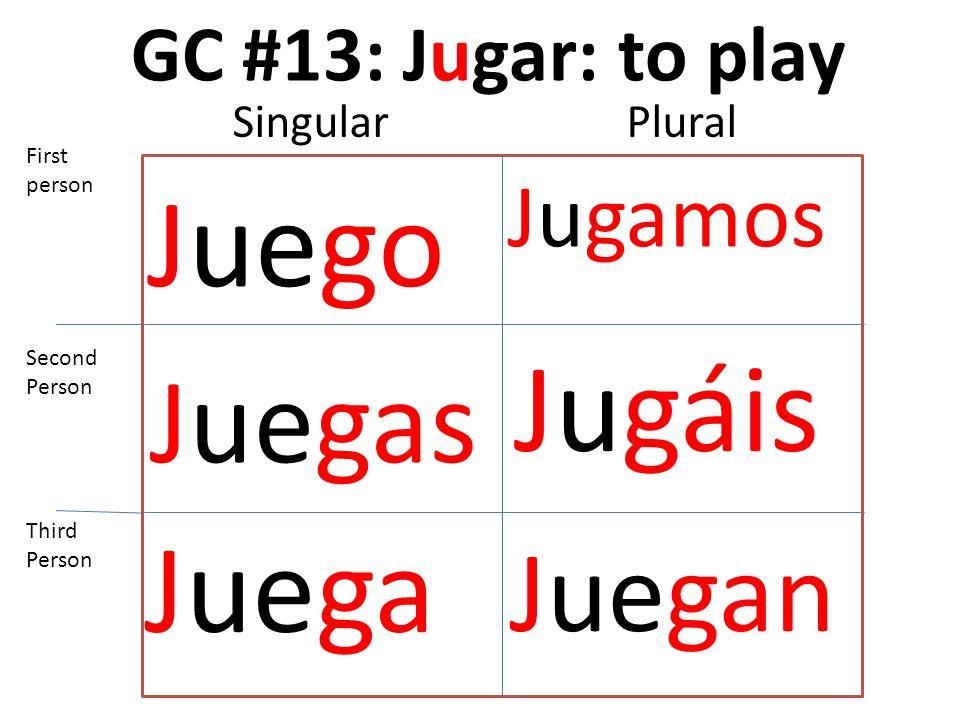GC #13: Jugar: to play Juego Juegas Juega Jugamos Jugáis Juegan First person Second Person Third Person SingularPlural
