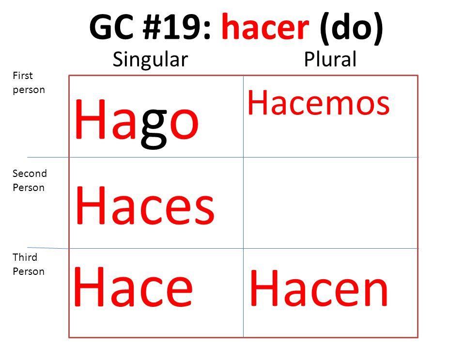 GC #19: hacer (do) Hago Haces Hace Hacemos Hacen First person Second Person Third Person SingularPlural