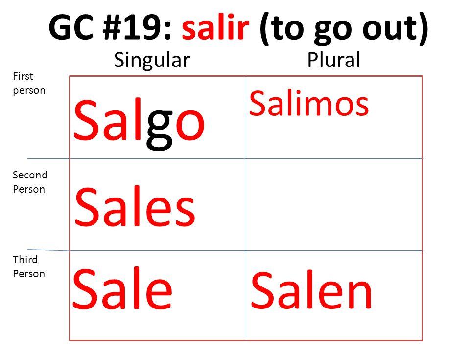 GC #19: salir (to go out) Salgo Sales Sale Salimos Salen First person Second Person Third Person SingularPlural