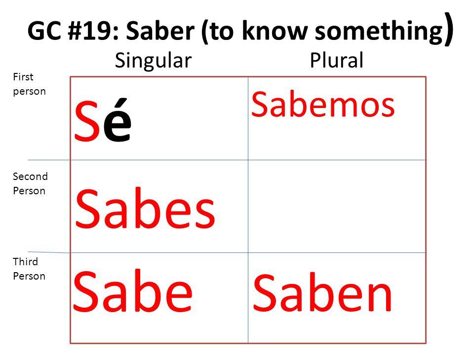 GC #19: Saber (to know something ) SéSé Sabes Sabe Sabemos Saben First person Second Person Third Person SingularPlural