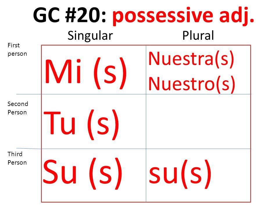 GC #20: possessive adj. Mi (s) Tu (s) Su (s) Nuestra(s) Nuestro(s) su(s) First person Second Person Third Person SingularPlural