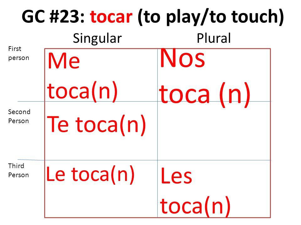 GC #23: tocar (to play/to touch) Me toca(n) Te toca(n) Le toca(n) Nos toca (n) Les toca(n) First person Second Person Third Person SingularPlural
