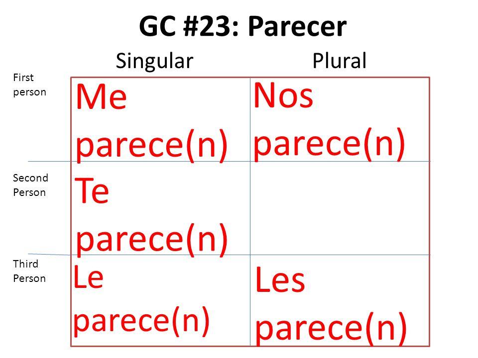 GC #23: Parecer Me parece(n) Te parece(n) Le parece(n) Nos parece(n) Les parece(n) First person Second Person Third Person SingularPlural
