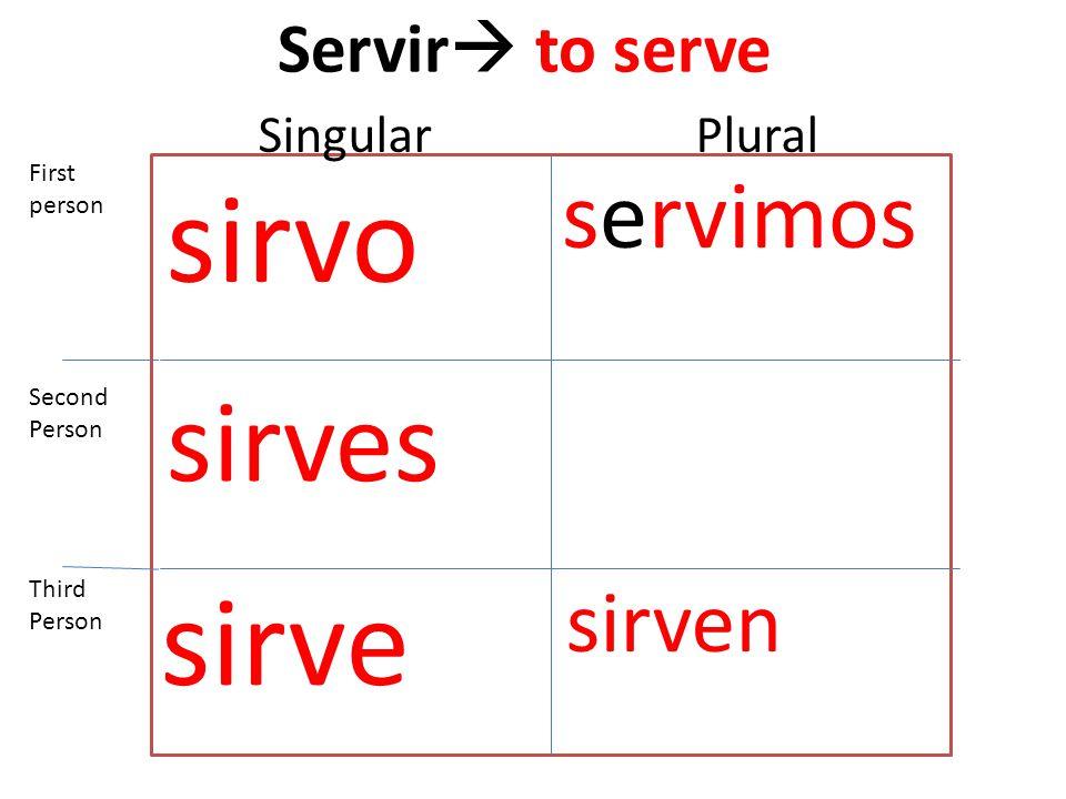 Servir  to serve sirvo sirves sirve servimos sirven First person Second Person Third Person SingularPlural