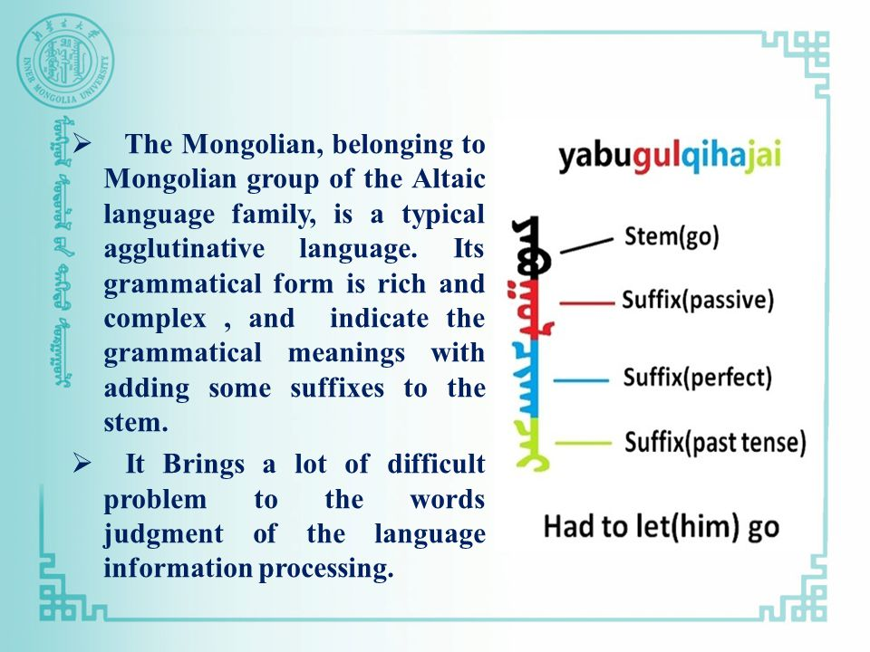 The Mongolian, belonging to Mongolian group of the Altaic language family, is a typical agglutinative language.