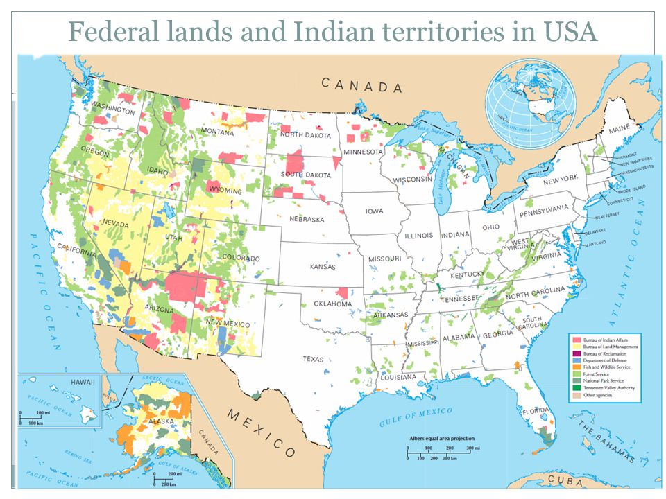 Federal lands and Indian territories in USA