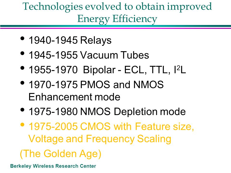 Berkeley Wireless Research Center Conclusions CMOS technology scaling that improves performance and energy efficiency has ended but CMOS will continue Reconfigurable interconnect is the most promising approach to fully flexible chips More energy efficient memory structures are critical Parallel architectures with the appropriate parallel units will be the key to continuing a Moore's Law for energy and power efficiency
